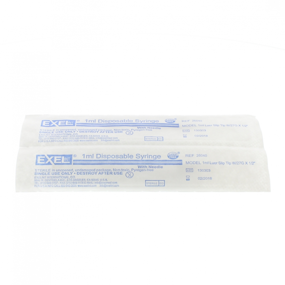 Exel 1cc Syringe w/27g x ½ Inch Needle - Box/100